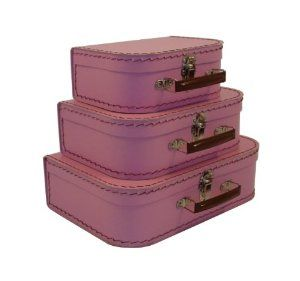 Decorative Luggage Box Cargo Cool  Mini Euro Suitcases 3 Set Pink Blush  Products