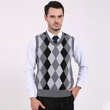 Autumn Winter Men Wool Sweaters V Neck Pullover Sweater Vests Business Casual Plaid Mens Knitted Jumper Sweate Preppy Business Casual Mens Outfits Sweater Vest