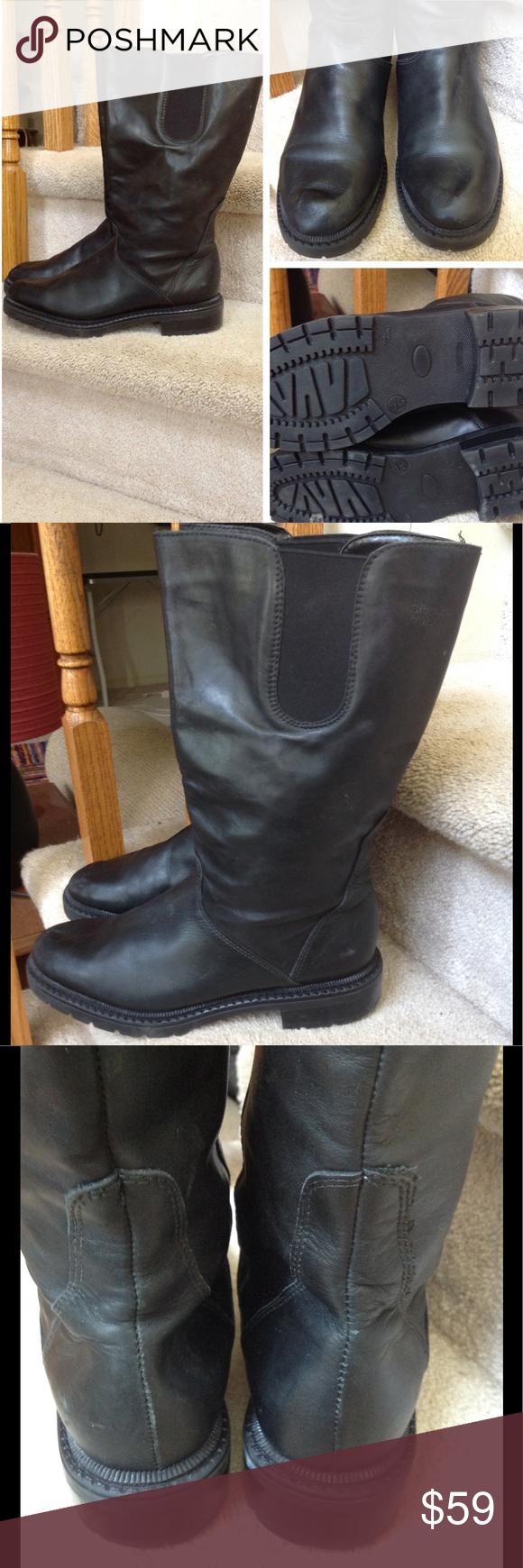 9d488b8ec636 Siberian Husky Canada black leather boots. 9.5 Ladies mid calf black leather  Siberian Husky brand