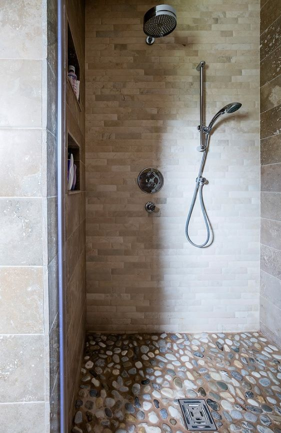 Natural Stone Walk In Shower With Pebble Tiled Floor Travertine Wall Tiles Sanitary Ware All F Bathroom Stone Wall Natural Stone Bathroom Stone Shower Floor