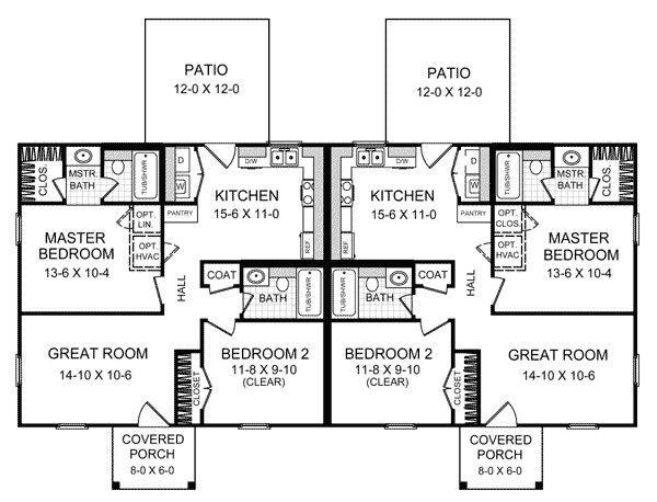 Senior Living Duplex Plans Duplex Floor Plans Duplex House Plans