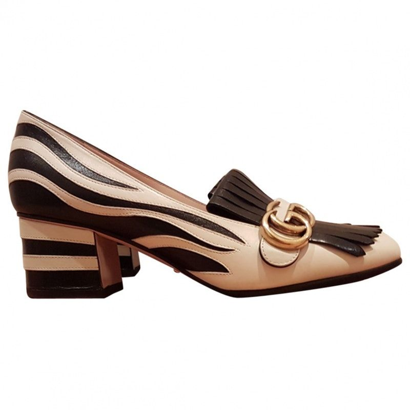 2aafc3eeb Zebra Leather GUCCI Flats - Vestiaire Collective Mocasines Gucci, Mocasines  Para Mujeres, Moda De