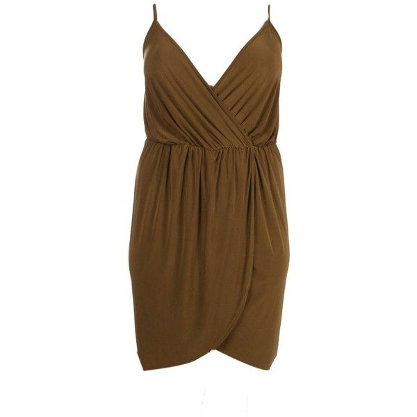 Boohoo Plus Plus Selena Strappy Slinky Wrap Dress ($30) ❤ liked on Polyvore featuring dresses, day to night dresses, strappy bodycon dress, brown camisole, brown cami and wrap dress