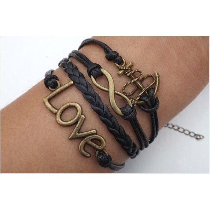 infinity braceletlove braceletanchor braceletblack