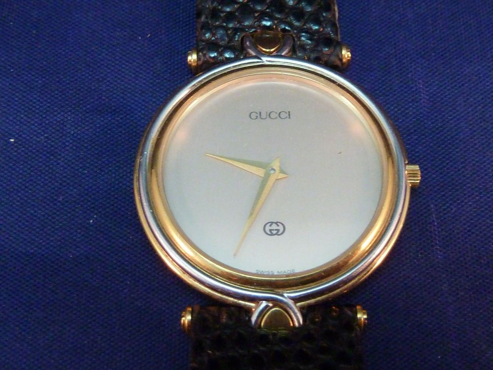 91c889e0dc2 Vintage Gucci Watch 4500 Gold Plated Orig Gucci Leather Band 1980s Men or  Women  Gucci  LuxuryDressStyles