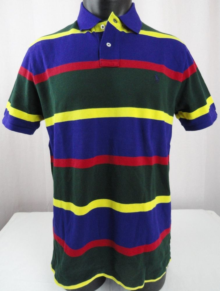 15a29358f NWT Polo Ralph Lauren Mens L Polo Shirt Striped Green Purple Red Yellow  Custom #PoloRalphLauren #PoloRugby