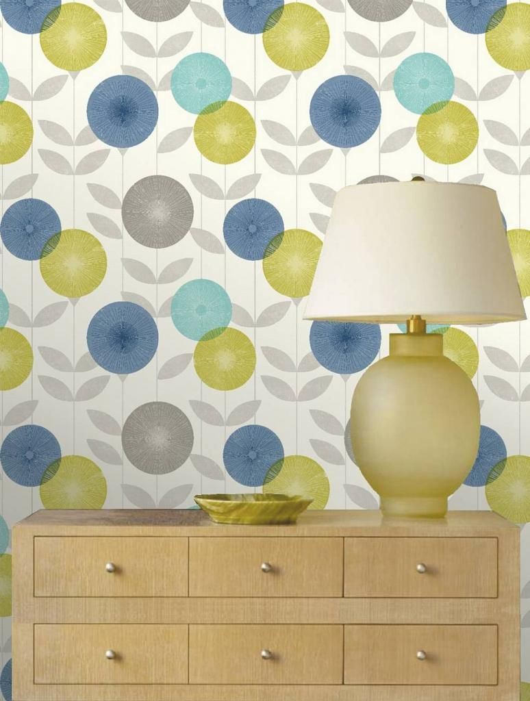 Feature Wallpaper MONROE Teal Blue Green Grey Retro Floral Leaf