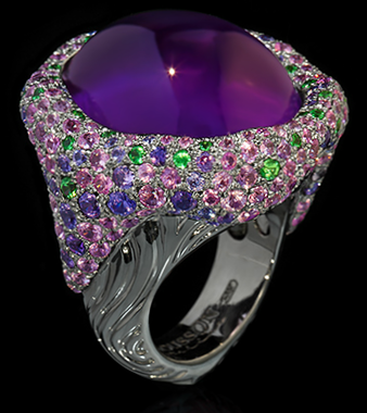 "Mousson Atelier New Age """"Mox"""" Gold 750 Amethyst Ring featuring 34.63ct Amethyst, 5.45ct Pink Sapphire, 1.07ct Purple Sapphire and 0.66ct Tsavorite; 24.65g total weight"