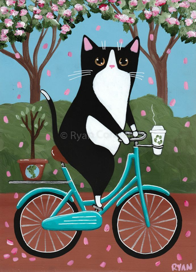 Earth Day Bicycle Ride Original Cat Folk Art Painting Earth Day Bicycle Ride Original Cat Folk Art Painting Bikes For You