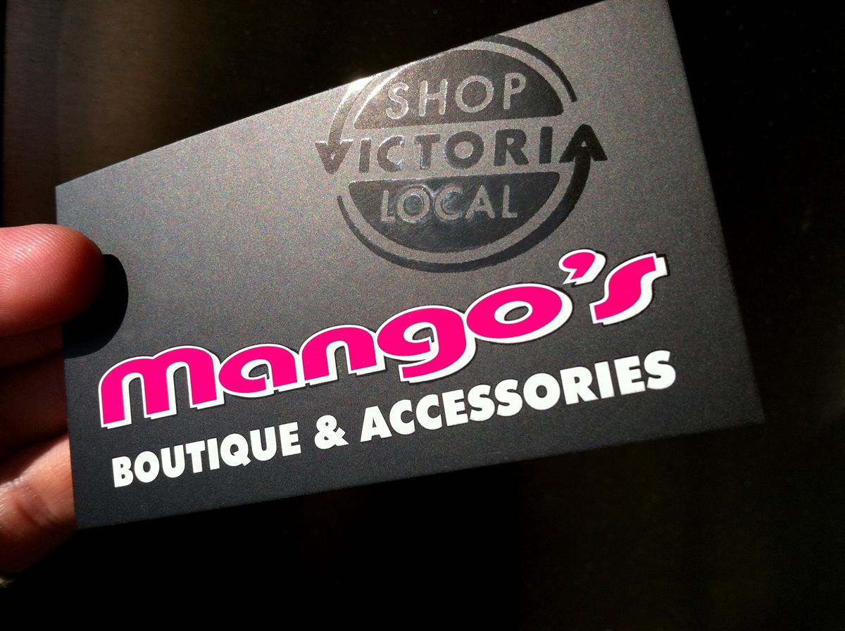Local Victoria As A Gloss Feature On Mango S Boutique Business Cards Squishcreative