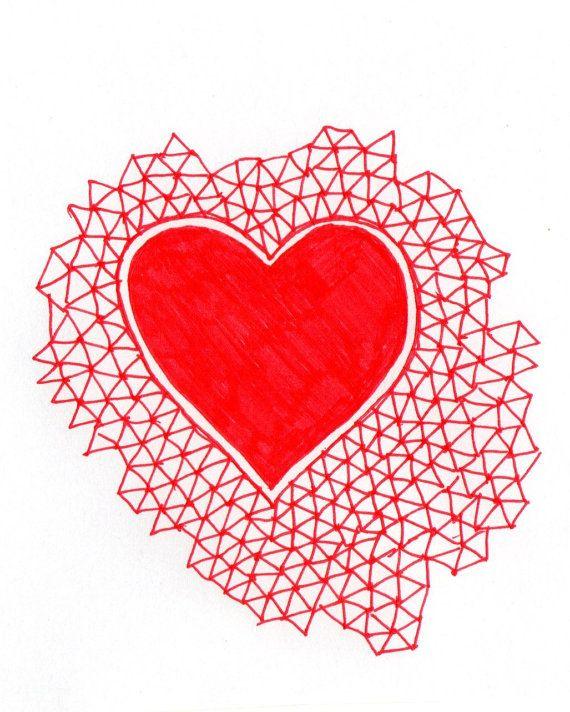 Red geometric love heart illustration a4 digital print.indie love ...