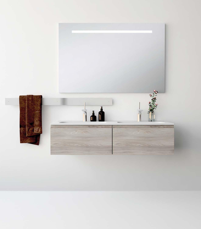 Uniba o pack112 ba o mueble de ba o con encimera de 120cm for Banos 2 lavabos