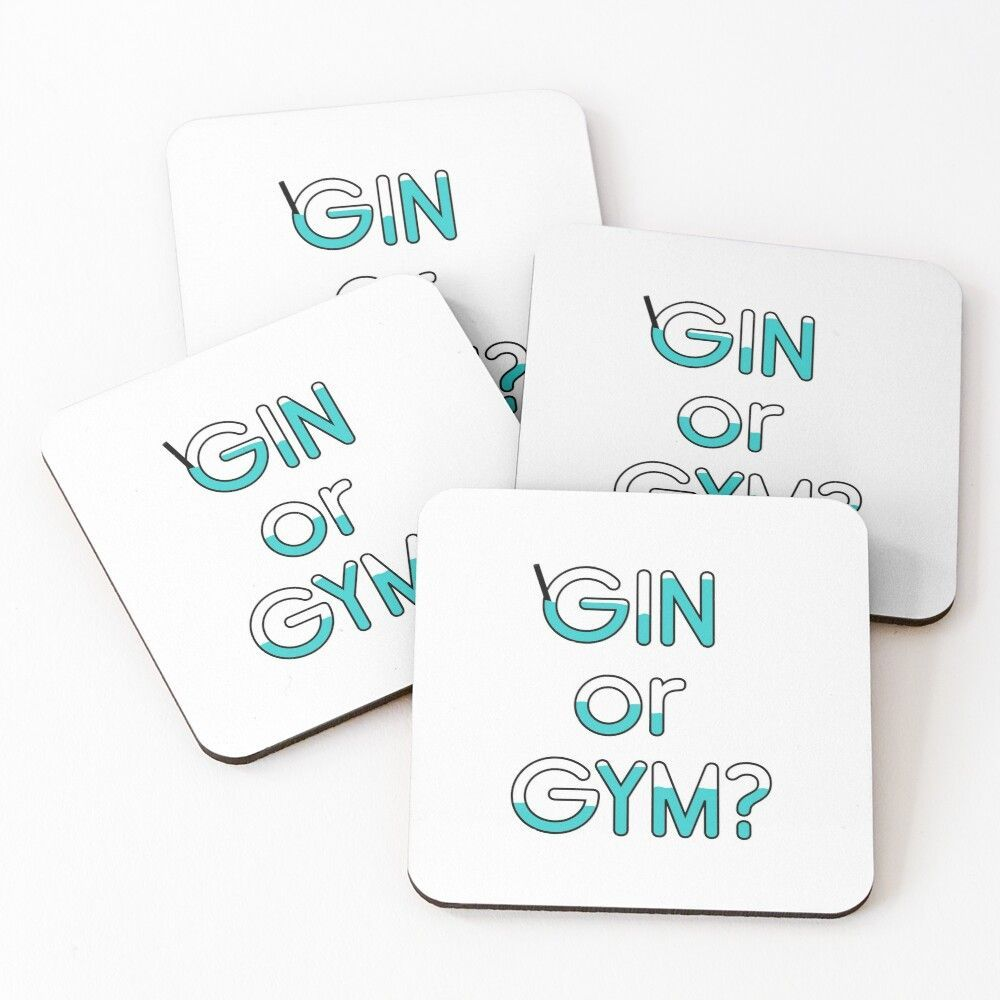 gin or gym? quote Coasters (Set of 4) -  gin, gym, alcohol, funny, exercise, fitness, drinking, fun,...