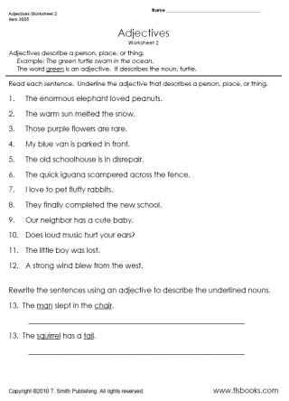 Adjectives Worksheet 2 Underline The Adjectives Tlsbooks Adjectives Language Arts Worksheets Adjective Worksheet