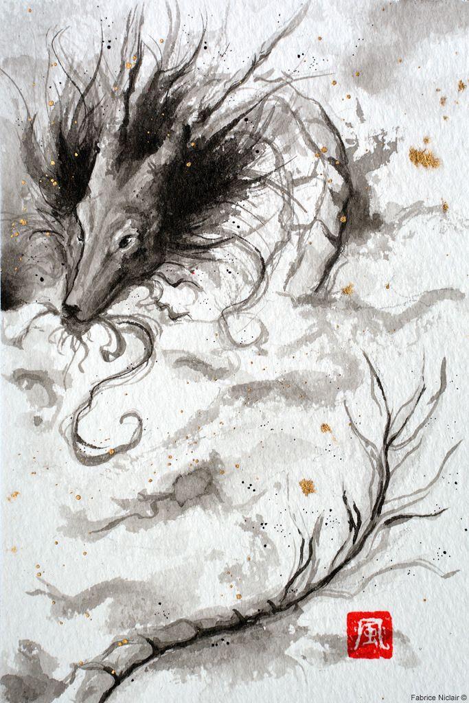 Le Dragon Jessy Ii Lavis A L Encre De Chine Aquarelle Japonaise