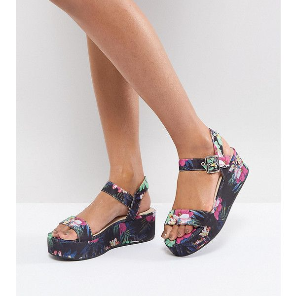 12ea68f88ebd ASOS TOUCAN Wedge Sandals (130 RON) ❤ liked on Polyvore featuring shoes