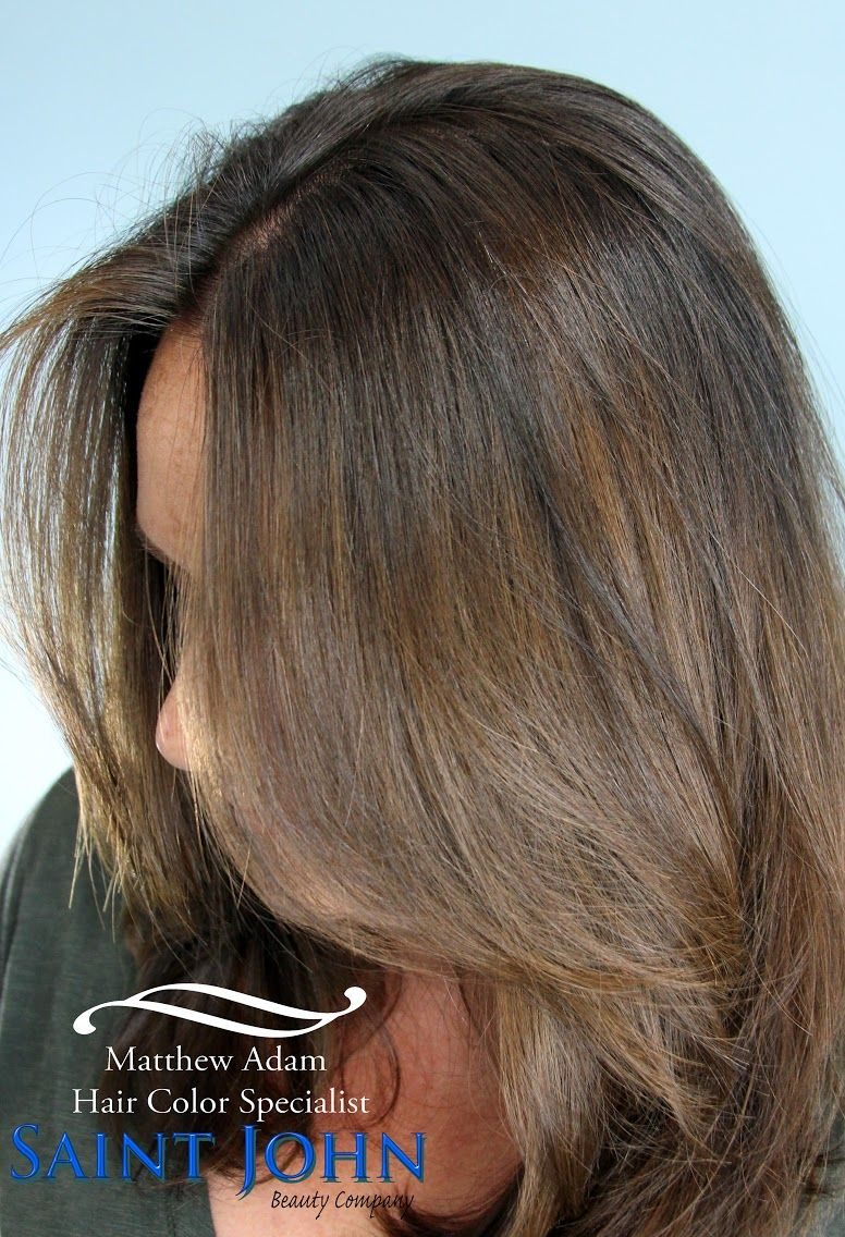 Beautifully blended medium brown balayage hair color brunette hair