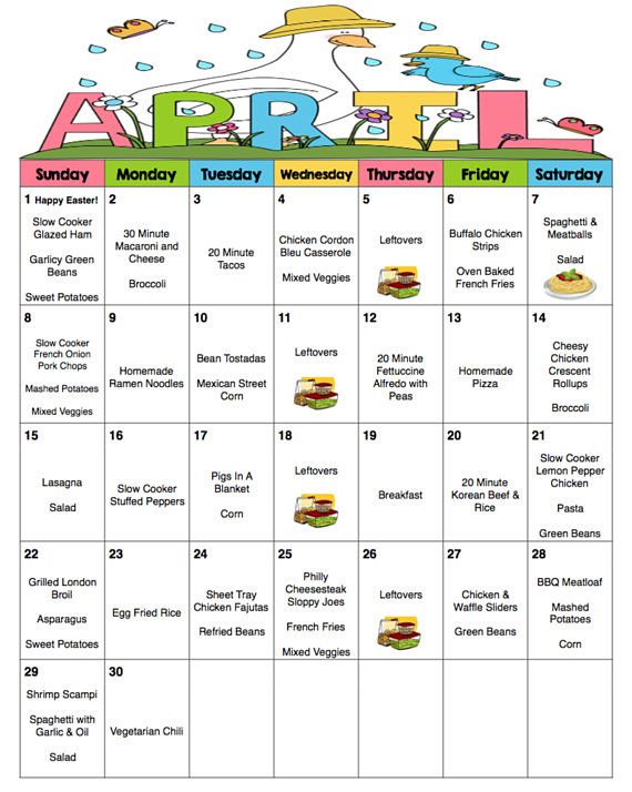 april 2018 monthly meal planner with weekly grocery lists and