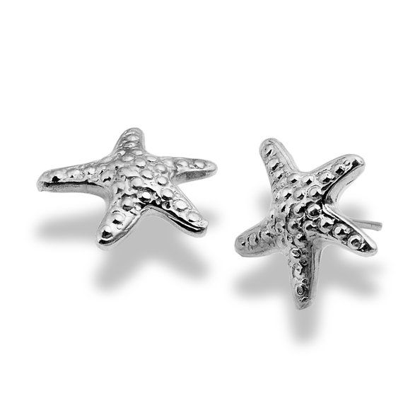 Studs Starfish Sterling Silver Earrings, Handmade Bridal Earrings, Sterling Silver Post, Personalized Gift, For Her, by EttySilverJewelry