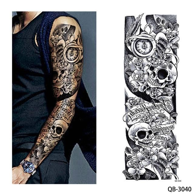 11f3f86ba 1 Piece Temporary Tattoo Sticker Nun Girl Pray Design Full Flower Arm Body  Art Beckham Big