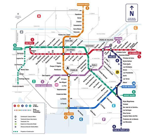 Santiago Subway Map.Santiago Chile Transit Maps Tourist Map Bus Route Map Subway Map