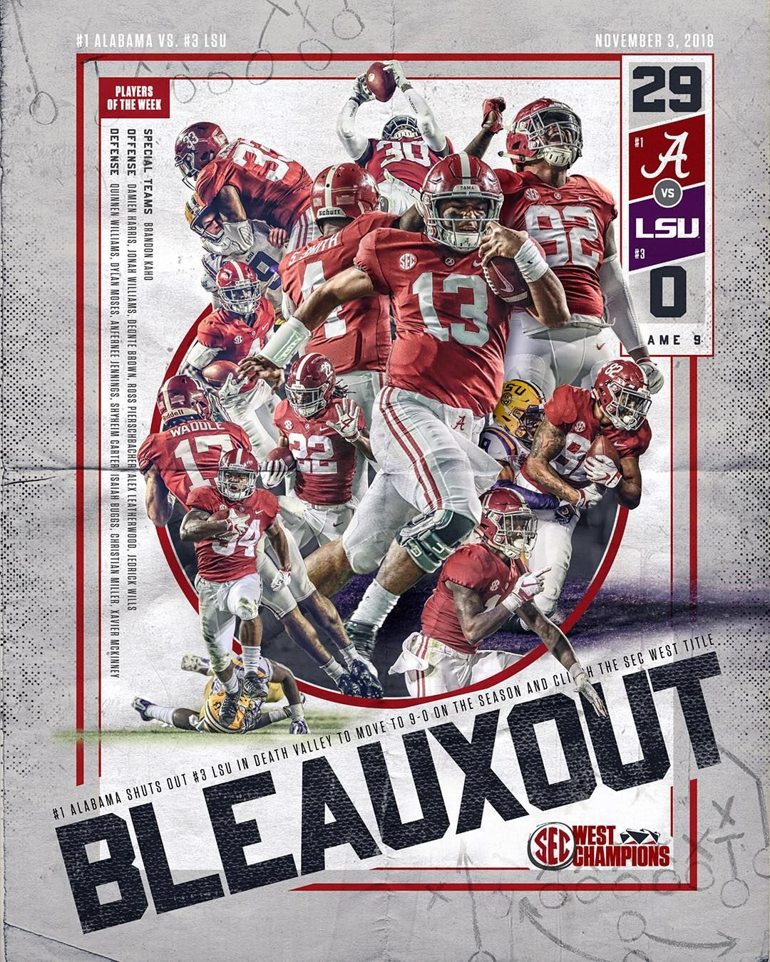 Game 9 Win Poster 🌊29 🐅0 OutworkYesterday RollTide