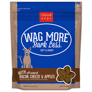 CLOUD STAR WAG MORE BARK LESS SOFT & CHEWY DOG TREATS BACON, CHEESE & APPLES - BD Luxe Dogs & Supplies