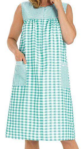 188e55b4fc Women s Sleeveless Zipper Gingham House Dress  House Coat  Duster  Lounge  Dress