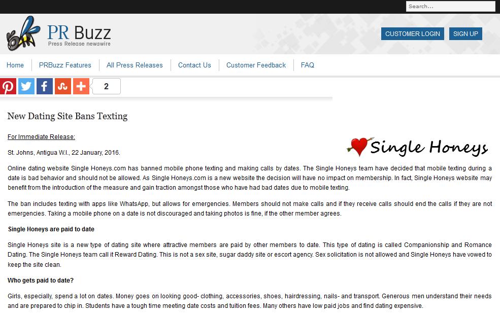 Online dating website SingleHoneys.com has banned mobile
