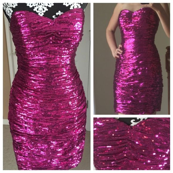 La Femme Pink Sequin Dress Brand New Fuchsia Sequined Size Chart 36 28 39 Measures About Long Sweetheart Neckline Dresses