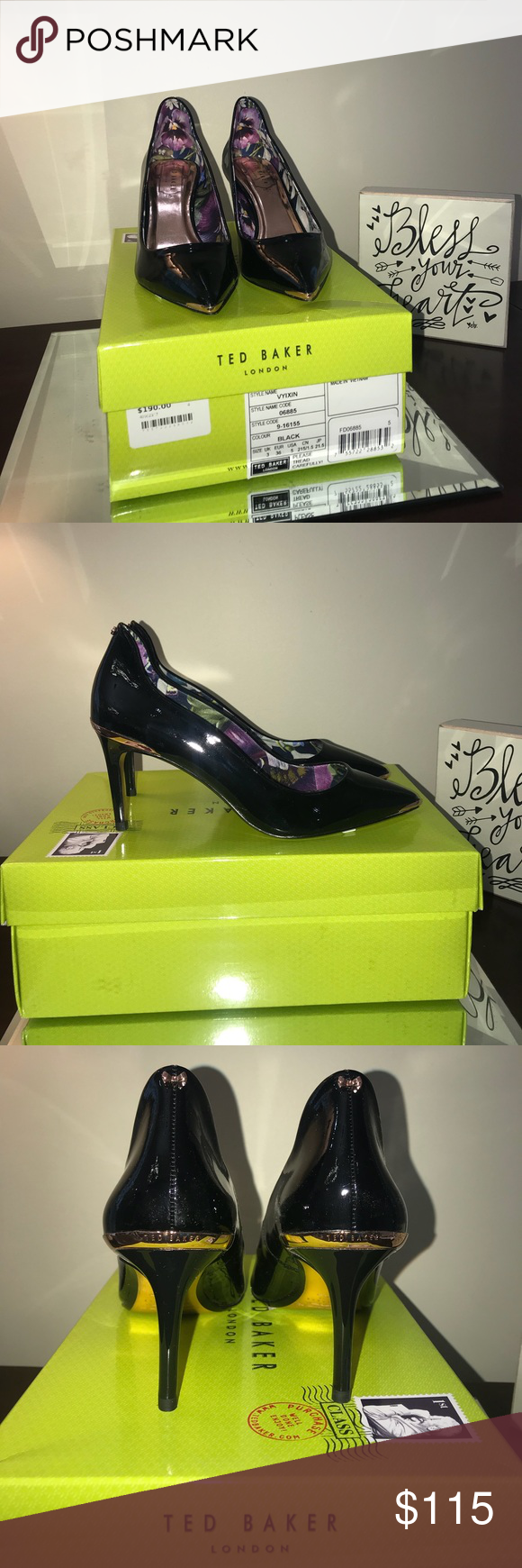 89a2fb3f3ca08e Ted Baker Vyixin Black Pumps Size 5 36 New in Box Ted Baker Vyixin Black  Size US 5   EUR 36 New in box Extra heel pieces in box   please note box  and shoes ...