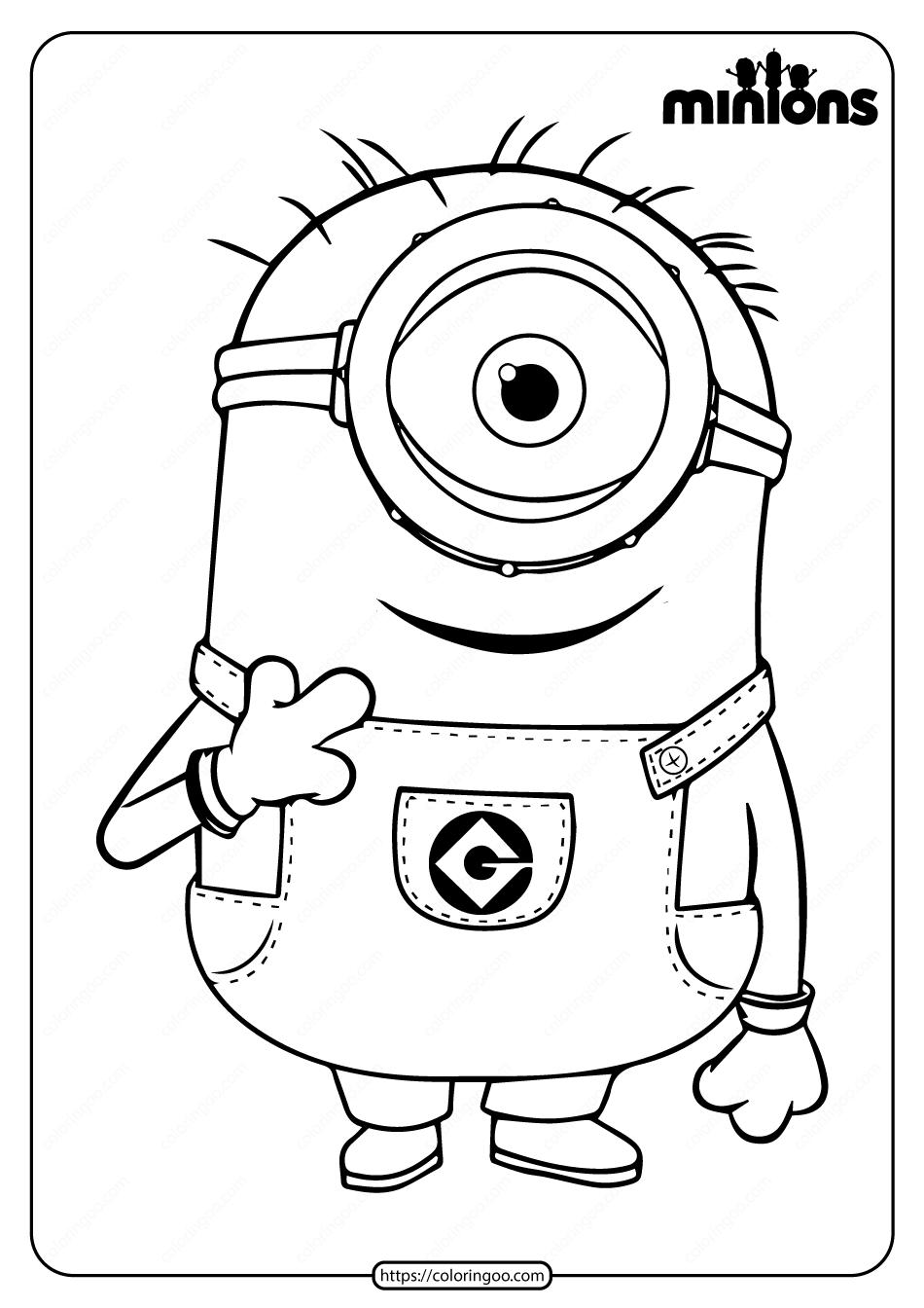 Printable Minions Carl Pdf Coloring Page in 2020 | Minion ...