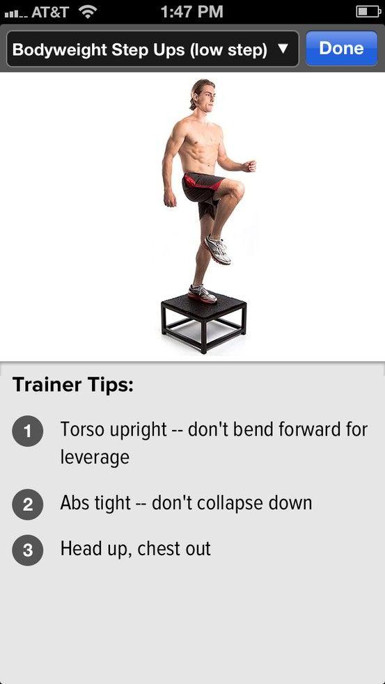 Bodyweight Step Ups #glutes #legworkout #gainfitness.com ...