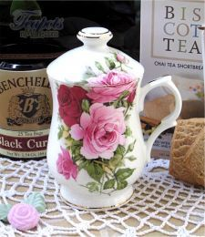 Heirloom Summertime Rose Bone China Covered Mug$37.50 OMG! Lids!!!