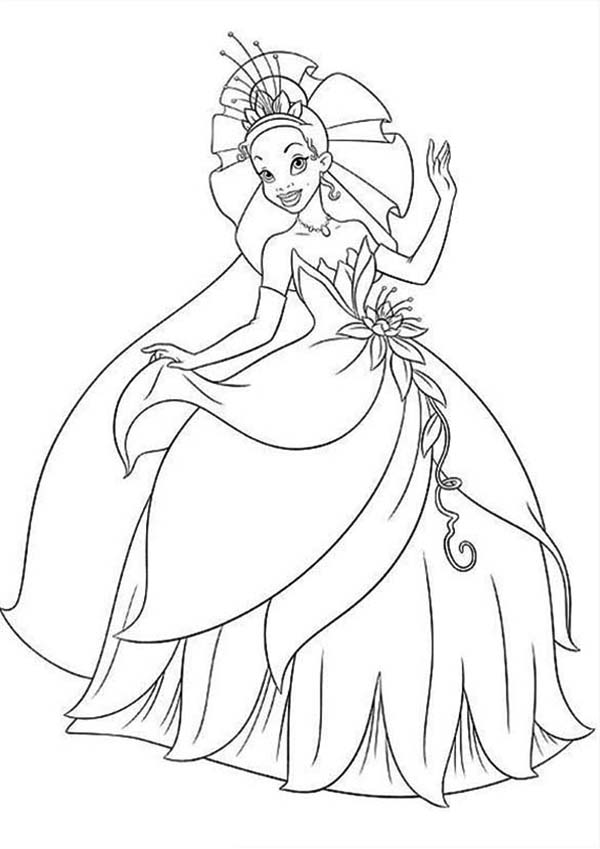 Princess Tiana Floral Gown In Princess And The Frog Coloring Pages Bulk Color Princess Coloring Pages Disney Princess Coloring Pages Frog Coloring Pages