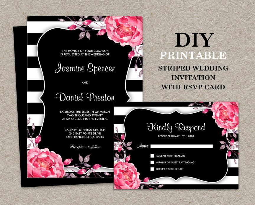 floral black and white stripe wedding invitation with rsvp card