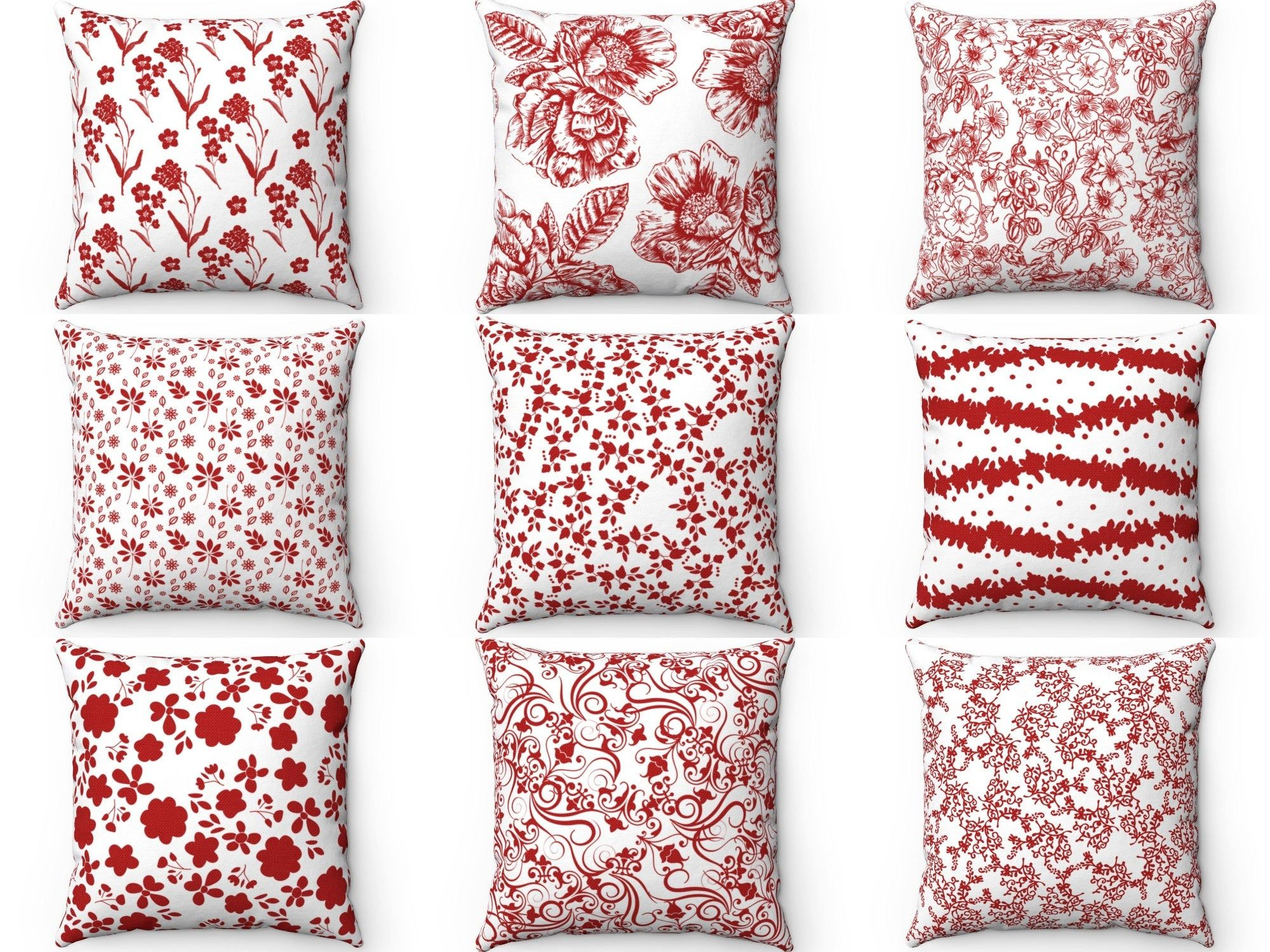 red floral throw pillow cover outdoor