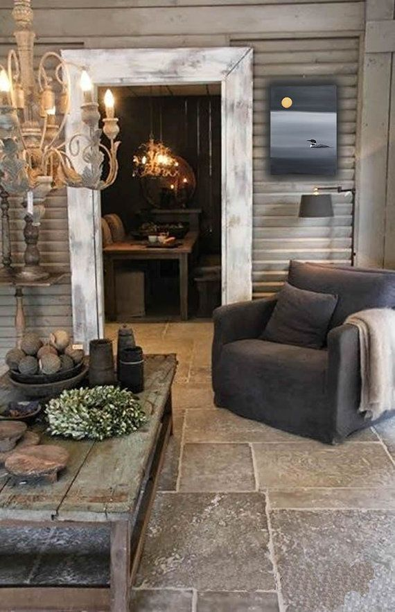 Superbe Living Room Decor   Rustic Farmhouse Style Living Room Featuring Reclaimed  Wood, Tumbled Travertine Floor, Reclaimed Wood Plank Coffee Table On Metal  Frame ...