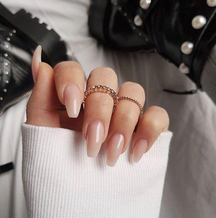 Neutral on acrylic nail art design