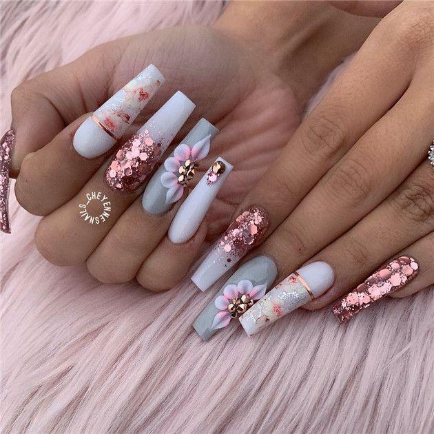 Photo of 40 disegni di unghie alla moda con glitter per unghie acriliche per le donne in estate