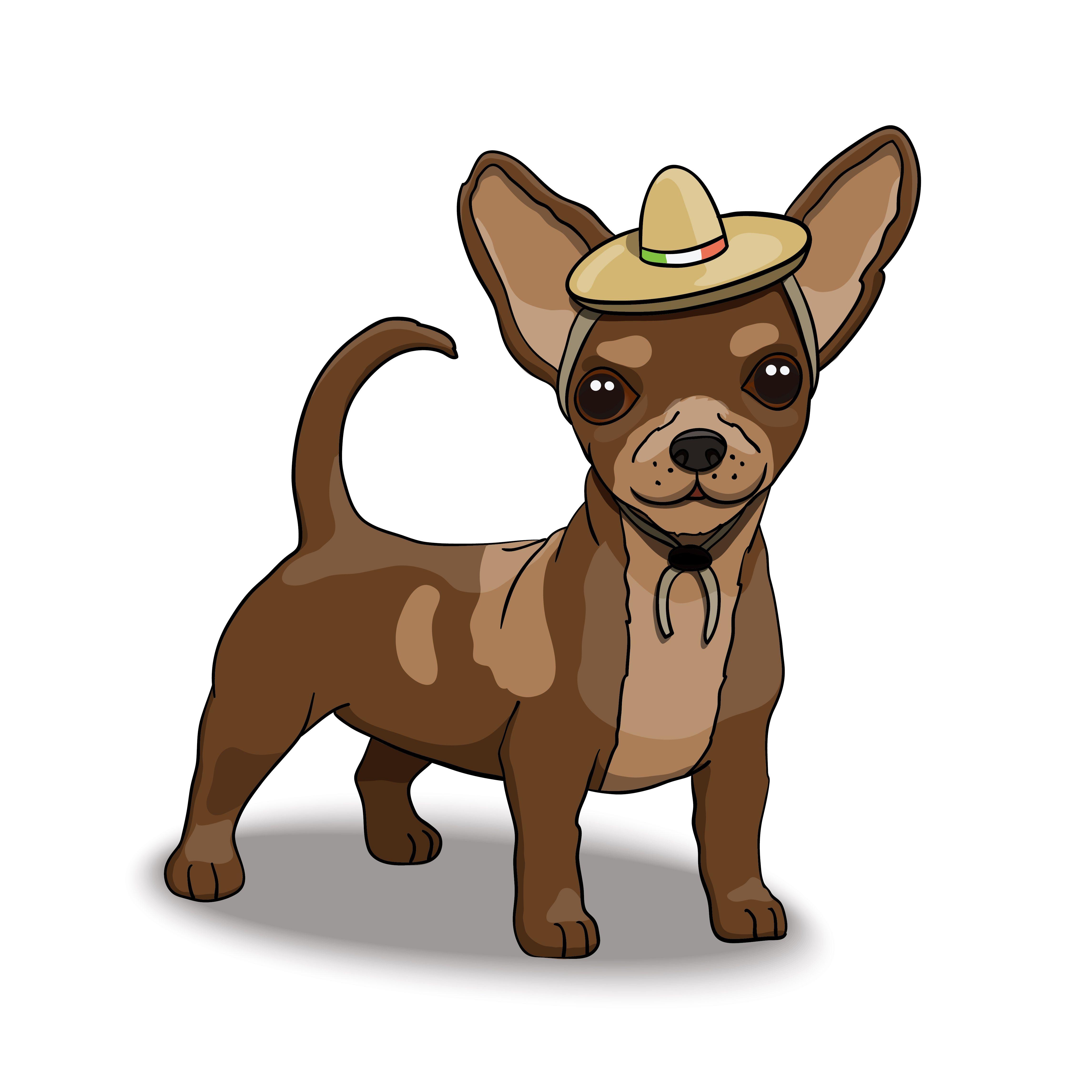 Chihuahua Smiling Cartoon Character Wearing Sombrero