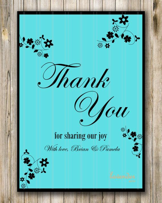 Tiffany Blue Floral Wedding Thank You Card Engagement Party Thank