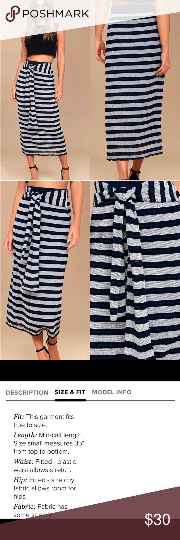 Women's Clothing 18W Women's Skirts NWT Terra & Sky Womens Plus Knit Maxi Navy White Stripe Skirt Size 1X 16W