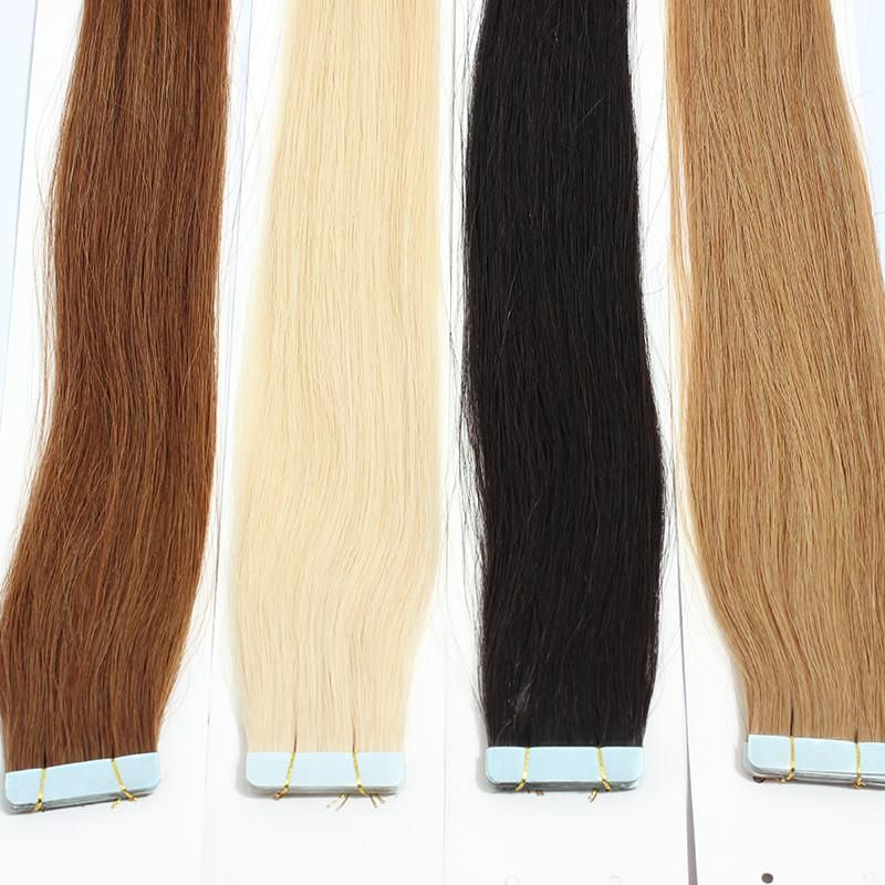 40 Pcs Tape In Hair Extensions Honey Queen Silk Straight Skin Weft