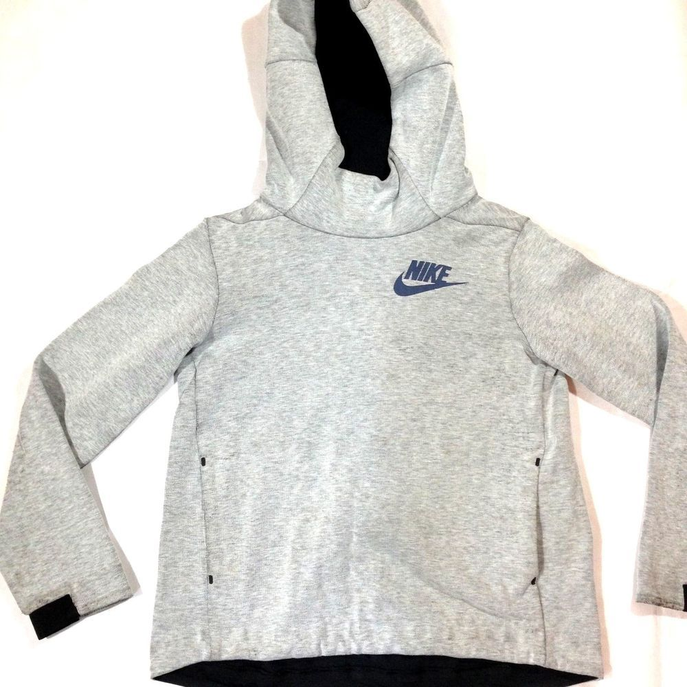 NIKE TECH FLEECE HOODIE YOUTH LARGE ATHLETIC PULLOVER GRAY