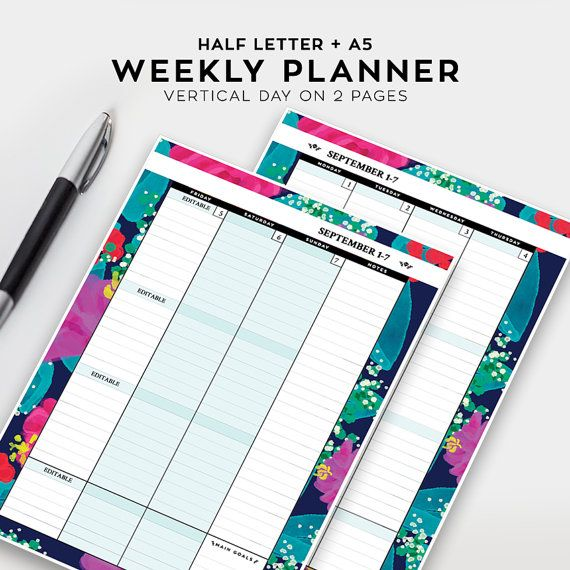 Weekly Planner, Vertical - Printable, Half Letter, A5 - Week on 2 - Agenda Planner Template