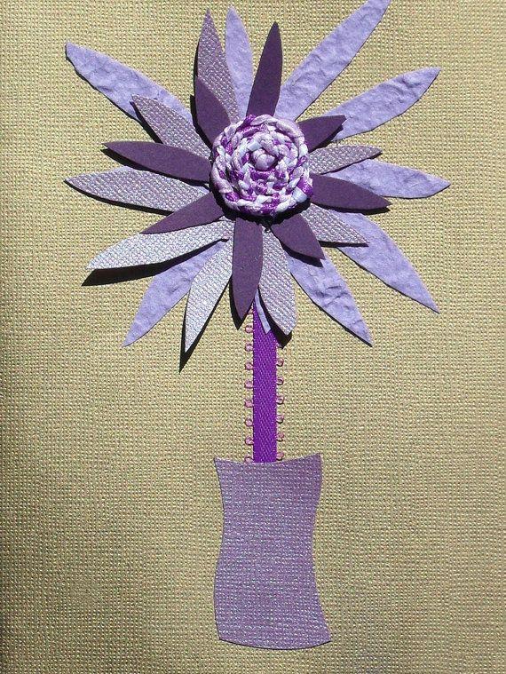 Original Handmade Lilac Purple Dahlia Art Card by JacyDesign