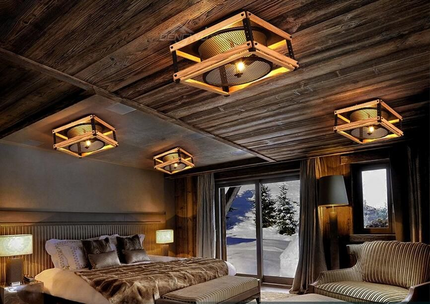 American Countryside Loft Style Log And Wrought Iron Vintage Ceiling ...