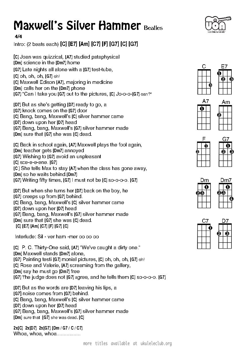 Learn To Play Maxwells Silver Hammer The Beatles Ukulele Chords