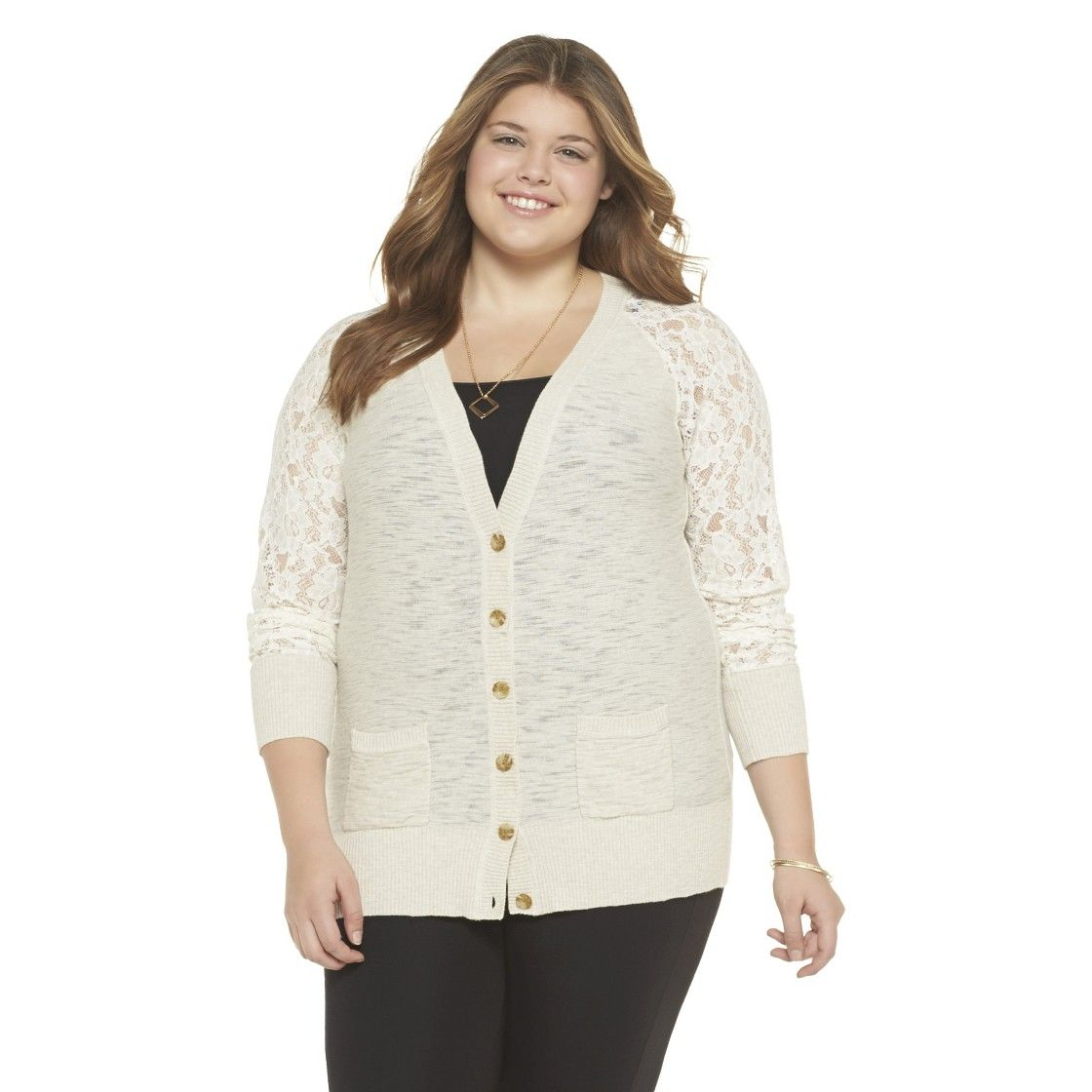 Plus Size Long Sleeve Boyfriend Lace Cardigan Sweater Beige ...